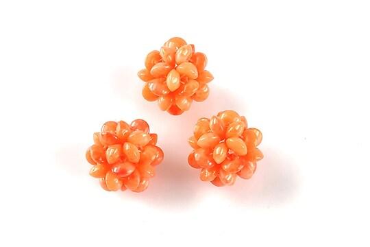 Bulgarasi coral 13mm din margelute de 4mm - portocaliu