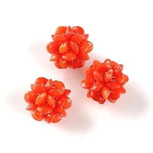 Bulgarasi coral 13mm din margelute de 4mm - rosu