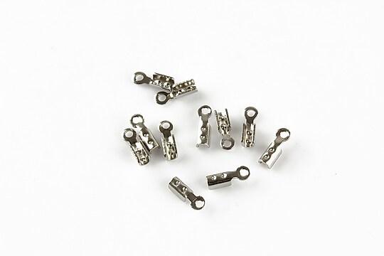 Capat snur argintiu inchis, interior 0,8-1mm (10buc.)