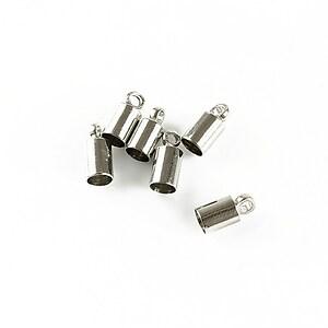 Capat de snur argintiu inchis 9x4mm (interior 3,5mm)