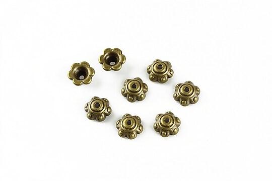 Capacele margele bronz floare 6x3mm