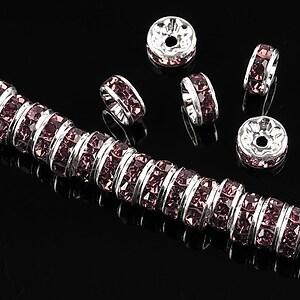 Distantiere argintii cu rhinestones mov 8mm (rondele 3,5x8mm)