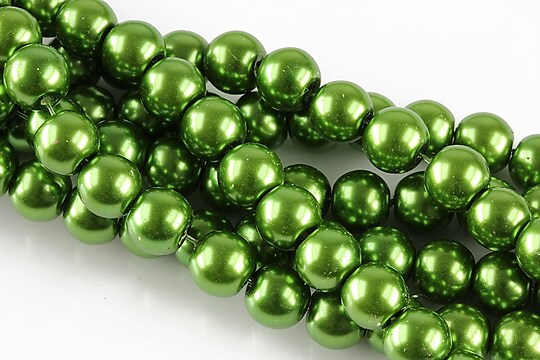 Perle de sticla, sfere 8mm - verde avocado (10 buc.)