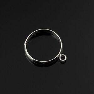 Baza de inel argintie, reglabila, cu 1 bucla