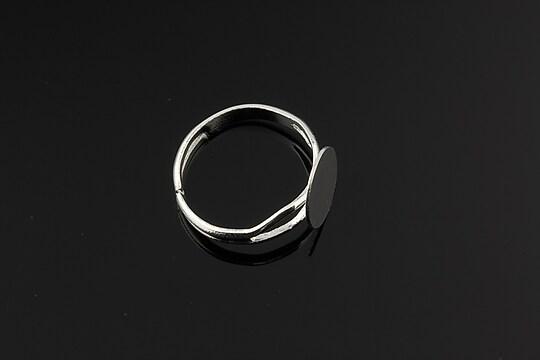 Baza de inel argintie, reglabila, cu platou 10mm