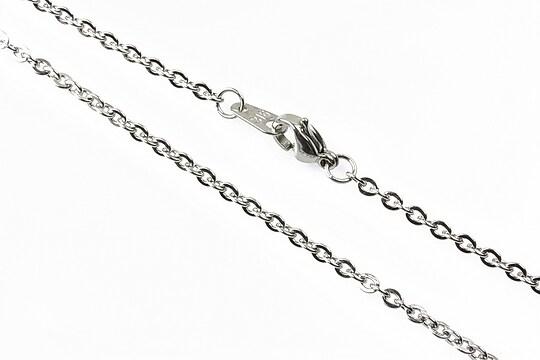 Lant otel inoxidabil cu inchizatoare lobster, argintiu inchis 50cm