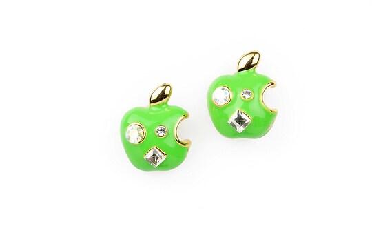 Cercei mere verzi cu aplicatii din strasuri si cristale