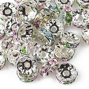 Distantiere cu rhinestone multicolore 4x10mm