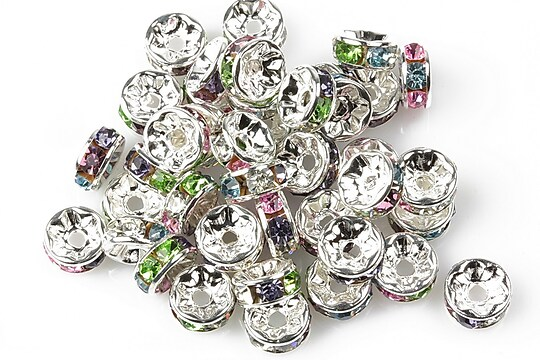 Distantiere cu rhinestone multicolore 4x8mm
