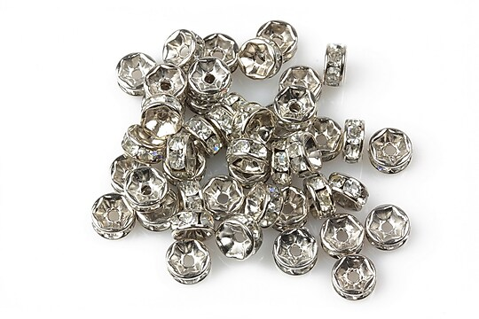 Distantiere argintiu inchis cu rhinestone albe 2,5x6mm