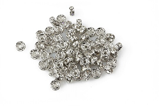 Distantiere argintiu inchis cu rhinestone albe 2x4mm