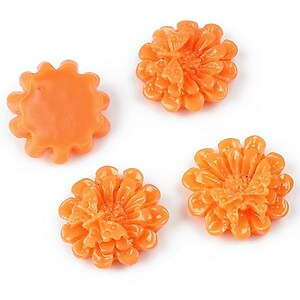 Cabochon rasina margareta cu fluturas 16mm - portocaliu