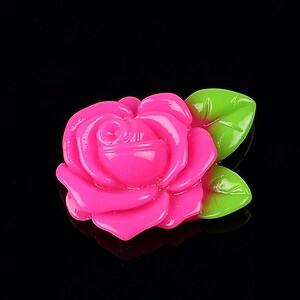 Cabochon rasina trandafir cu frunza 32x24mm - roz