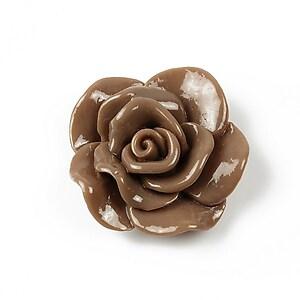 Cabochon rasina trandafir 30mm - maro