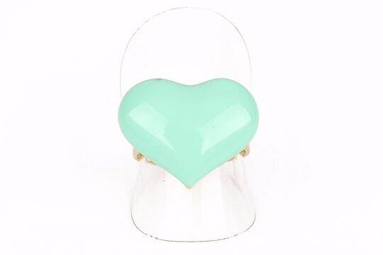 Inel auriu inima turcoaz emailata (reglabil)