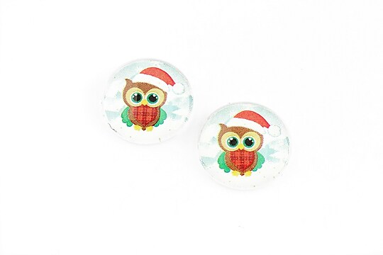 "Cabochon sticla 16mm ""Christmas"" cod 1186"