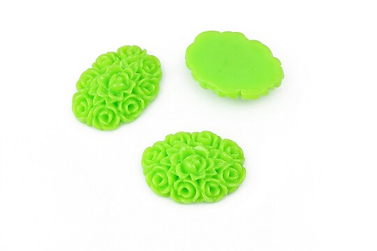 Cabochon rasina oval, buchet de flori 19x14mm - verde