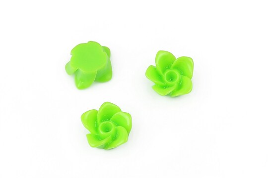 Cabochon rasina floare 12mm - verde