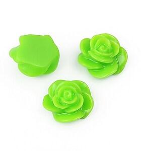 Cabochon rasina floare 14mm - verde
