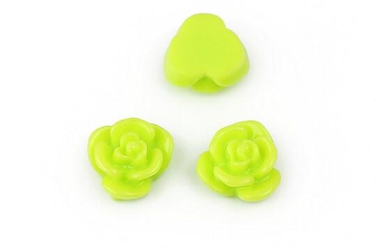 Cabochon rasina floare 15mm - verde deschis