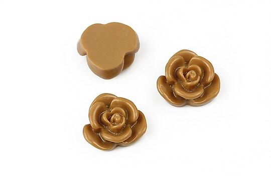 Cabochon rasina floare 15mm - maro deschis