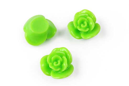 Cabochon rasina floare 17mm - verde