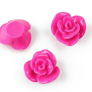 Cabochon rasina floare 17mm - fucsia