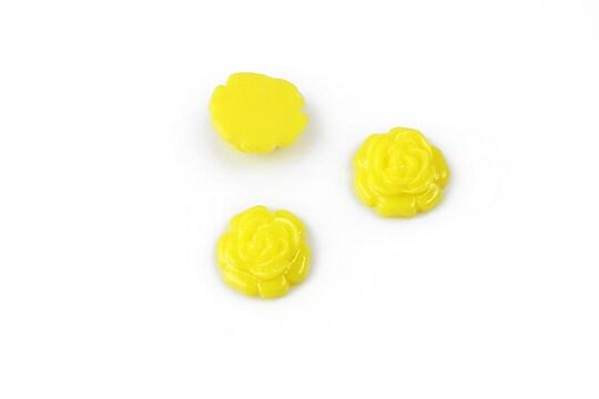 Cabochon rasina trandafir 11mm - galben