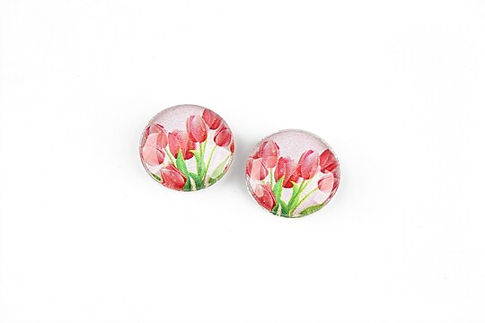 "Cabochon sticla 14mm ""Martisor"" cod 1260"