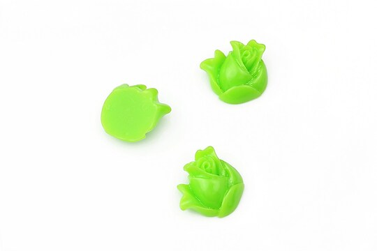 Cabochon rasina boboc trandafir 12mm - verde