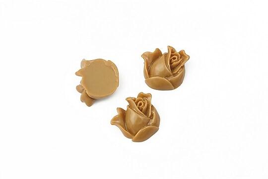 Cabochon rasina boboc trandafir 12mm - maro deschis