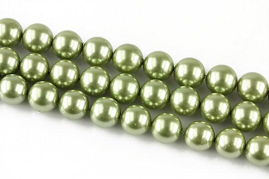 Perle tip Mallorca verzi sfere 8mm