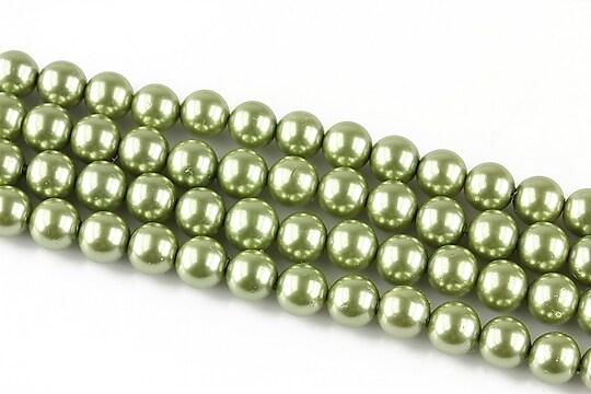 Perle tip Mallorca verzi sfere 6mm