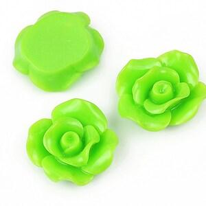 Cabochon rasina trandafir 19mm - verde