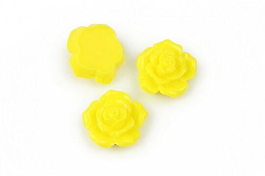 Cabochon rasina trandafir 16mm - galben