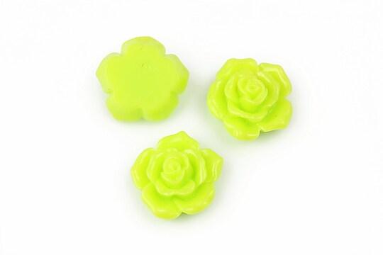 Cabochon rasina trandafir 16mm - verde deschis