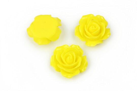 Cabochon rasina trandafir 18mm - galben
