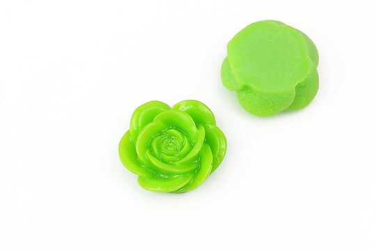 Cabochon rasina floare 19mm - verde