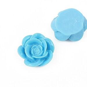 Cabochon rasina floare 19mm - albastru