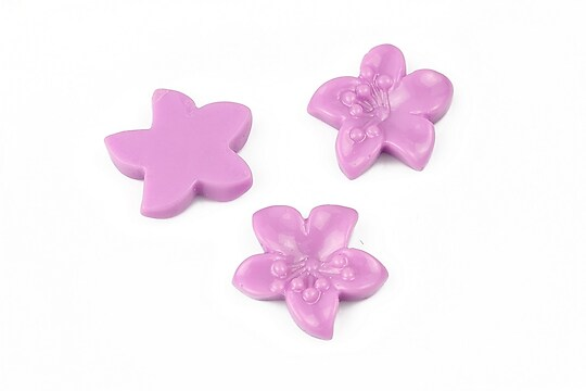 Cabochon rasina floare 17x18mm - lila