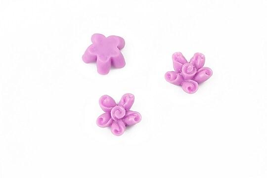 Cabochon rasina floare 12mm - lila