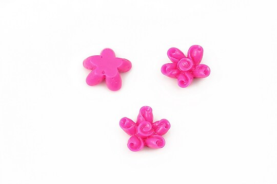 Cabochon rasina floare 12mm - fucsia