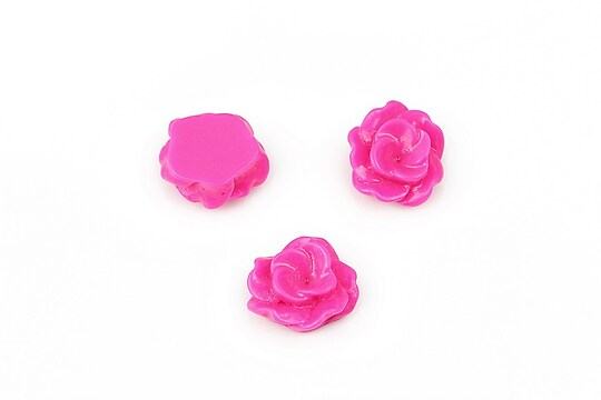 Cabochon rasina floare 13mm - fucsia