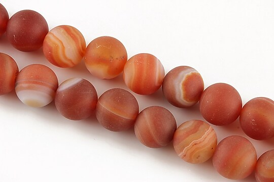 Agate stripped frosted sfere 10mm - portocaliu