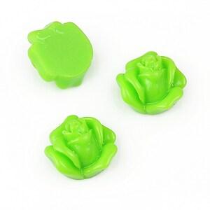 Cabochon rasina trandafir 14mm - verde