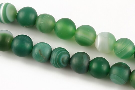 Agate stripped frosted sfere 10mm - verde