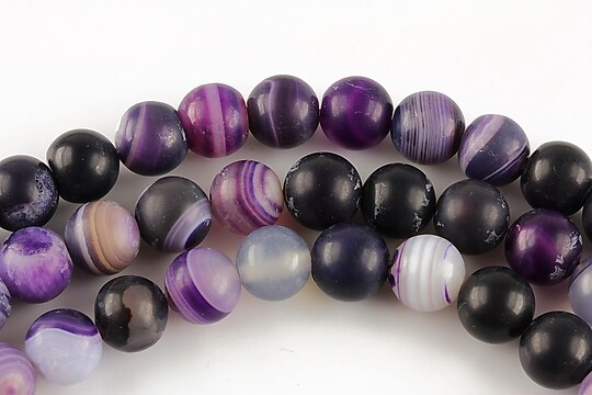 Agate stripped frosted sfere 8mm - mov