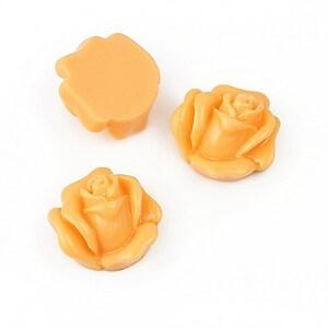 Cabochon rasina trandafir 14mm - portocaliu deschis