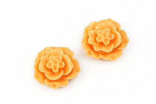 Cabochon rasina floare 20mm - portocaliu deschis