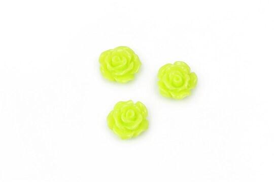 Cabochon rasina trandafir 10mm - verde deschis